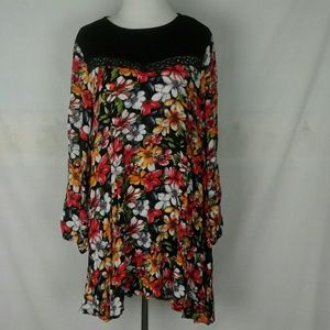 Umgee floral swing dress tunic long sleeve